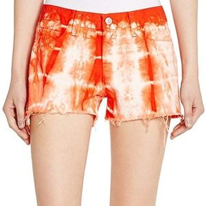 J Brand Low Rise Cutoff Shorts in Tie-Dyed Cherry